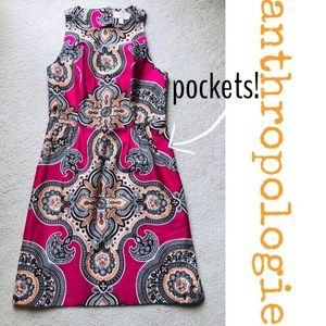 Anthropologie Pink Black Orange Print dress Modest